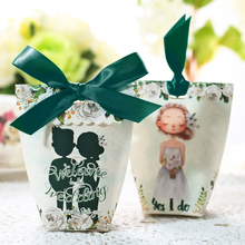 10pcs/lot White Dress Bride With Green Ribbon Wedding Party Gift Box Creative Couple Candy Boxes Favor Present
