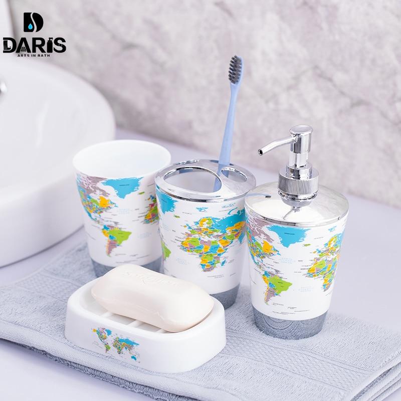 4pcs Paris Eiffel Tower Bathroom Set Toothbrush Holder Tumbler Soap Dispenser