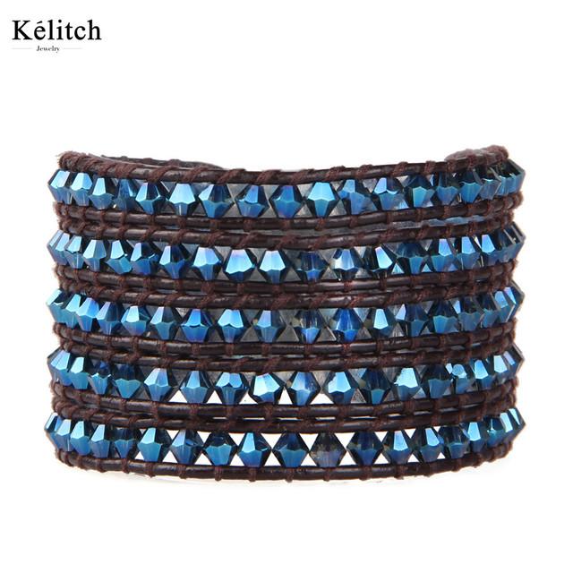 Kelitch Clássico 5 Envoltório de Cristal Frisados Estiramento Pulseiras Para Mulheres Acessórios de Moda Bijoux Artesanais Das Senhoras Couro Genuíno