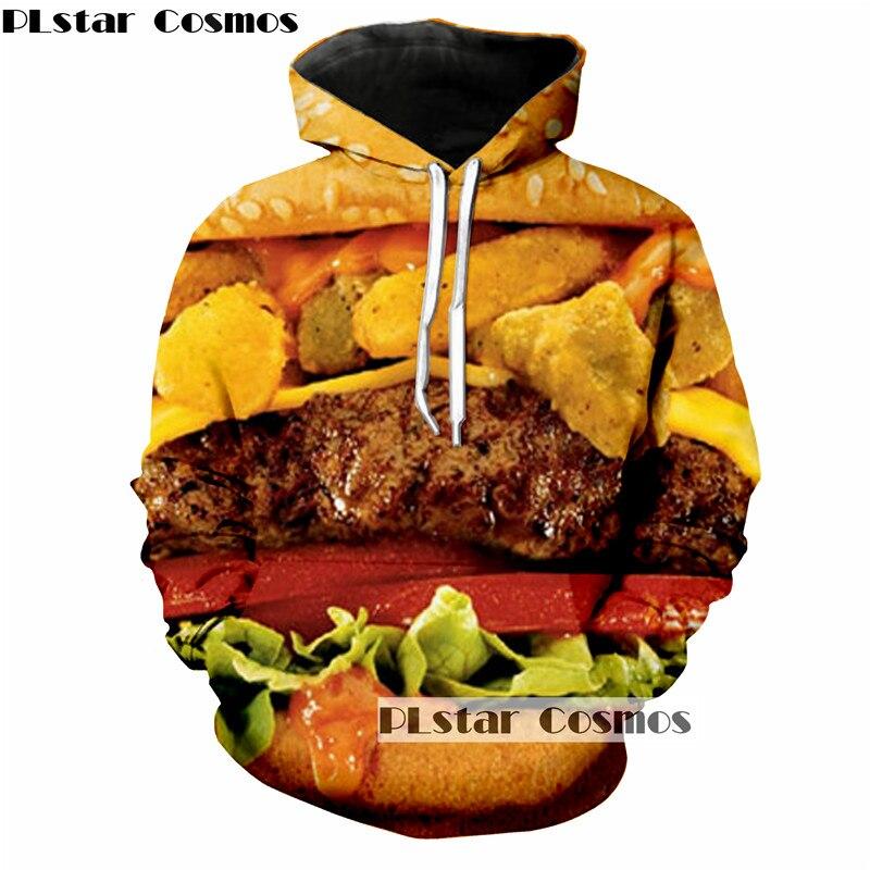 PLstar Cosmos creative personality 3D printing hamburger fun hoodies long-sleeved men women sweatshirt street casual 5XL
