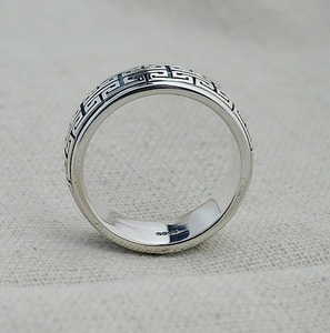 Image 4 - Gerçek gümüş yüzük 925 ayar gümüş yüzük erkekler kadınlar S925 halkası döndürme Vintage yüzük takı hediye büyük duvar hareketli S925 bant yüzük