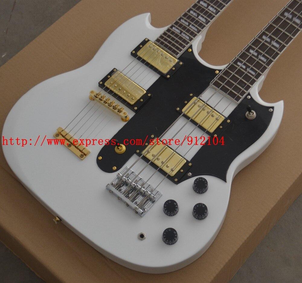 Double cou guitare électrique, 4 cordes basse et 6 cordes guitare électrique en blanc BJ-92