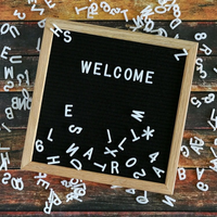 Felt letter board wooden frame interchangeable logo digital character message board home office decoration children's toys