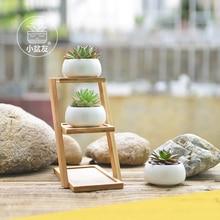 2019 Creative White Succulent Plant Flower Pot Holder Ceramic Decorative oblate & Three-layer Bamboo Shelf Set