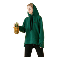 Toyouth Black Sweatshirts for Women Autumn Casual Embroidery Loose Boyfriend Style Fleece Pullovers Female Green Hoodies