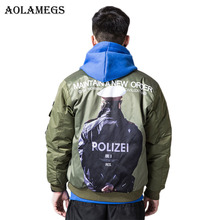 Aolamegs Parka Men Polizei Print Thick MA-1 Winter Jackets Mens Down Jacket Hip Hop Hooded Collar Windproof Couple Coat Mens