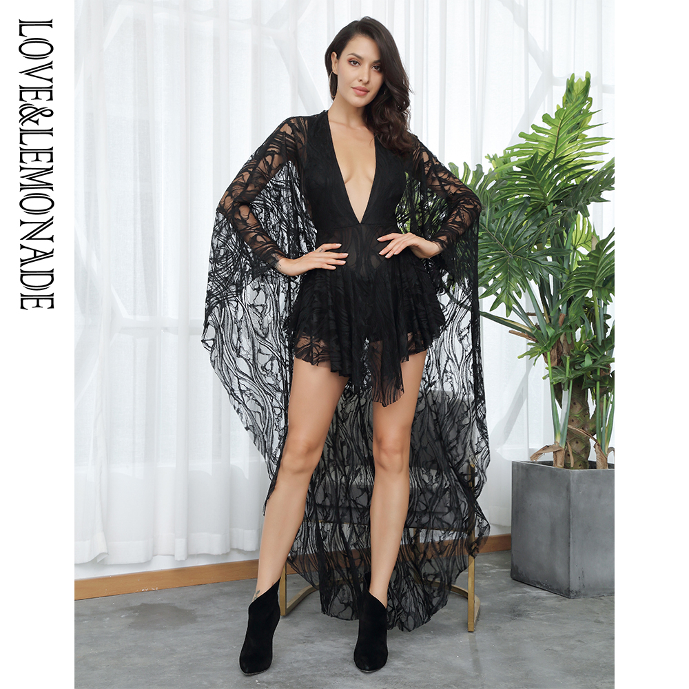LOVE&LEMONADE V-Neck  Ruffles Open Back Lace  Playsuit LM81381-1