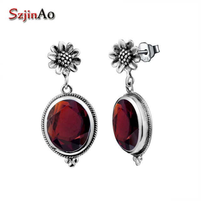 4269cf527ff46 US $21.55 23% OFF|Szjinao 925 Sterling Silver Vintage Rose Earrings With  Garnet Big Oval Hanging Earrings For Bridal Brincos Wedding Jewelry-in ...