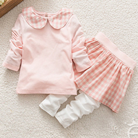 Cute Children's Sets for Girls Solid Plaid Princess Fashion Style Clothes Set Pink Lovely Clothes 100% Cotton Kids Sets Summer