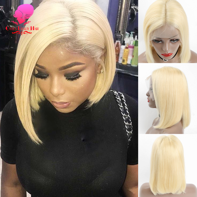 Queen 13x6 613 Blonde Brazilian Straight Human Hair Bob Wigs 6 - 16 Inch Remy Short Ombre Bob Lace Front Wigs for Black Women 1