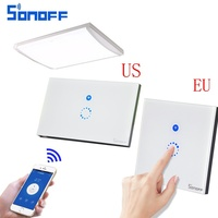 NEW Sonoff Touch Luxury Glass Panel Touch 1 Gang 1 Way LED Light Switch For Smart