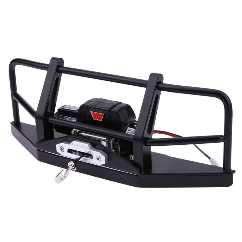 Metal Front Bumper with Winch+Remote Control+ Winch Kit Model Car Parts for D90 D110 RC Crawler Rock Car set j40 black steel different trail front bumper w winch plate