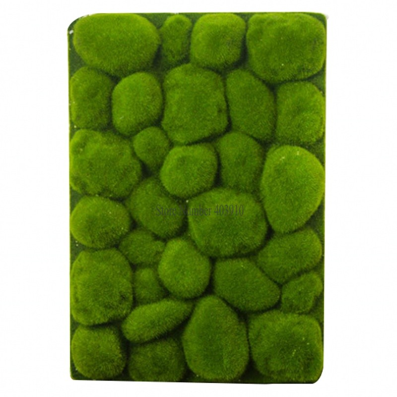 30x50cm Stone Shape Moss Grass Mat Indoor Green Artificial Lawns Turf Carpets Fake Sod Moss For Home Hotel Wall Balcony Decor