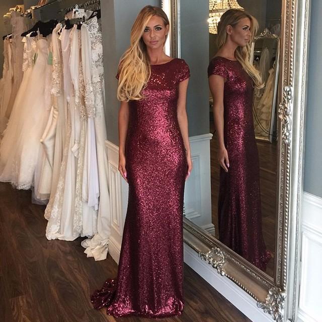 2016 Faísca Borgonha Lantejoulas Longo Vestido de Dama de honra Curto Colher Manga Backless Pavimento Length Formal Mulheres Vestido