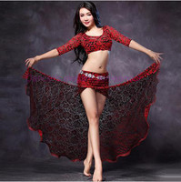 New Belly Dance Costumes Sexy Lace Half Sleeves Top Skirt 2pcs Belly Dance Set For Women