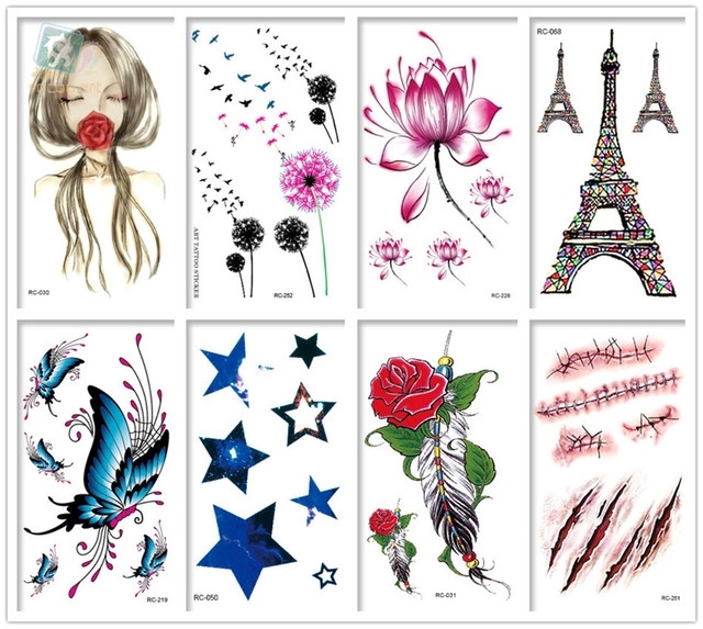 Mixed 8 SheetsTattoo Designs Colorful Tatoo Fake Body Sexy Temporary Tattoos Rose Lotus Butterfly Dandelion Tattoo Design