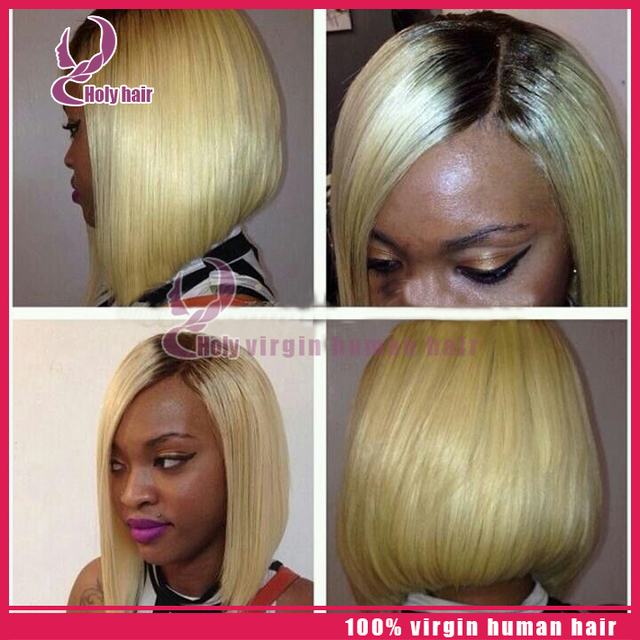 100 Virgin Hair Short Ombre Bob Wigs Platinum Blonde Wig Human Hair
