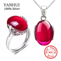 90 OFF Luxury 5 Carat Red Created Ruby Ring Necklace Sets Original 925 Solid Silver Crystal