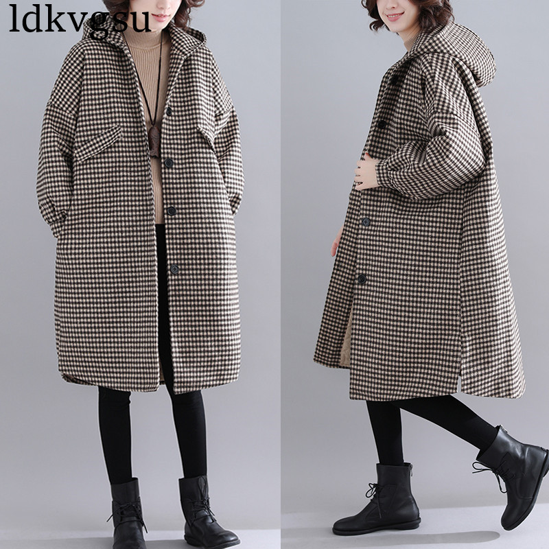 2019 New Fashion Autumn Winter Woman Coat Long Section Loose Wool Single breasted Leisure Ladies Overcoat