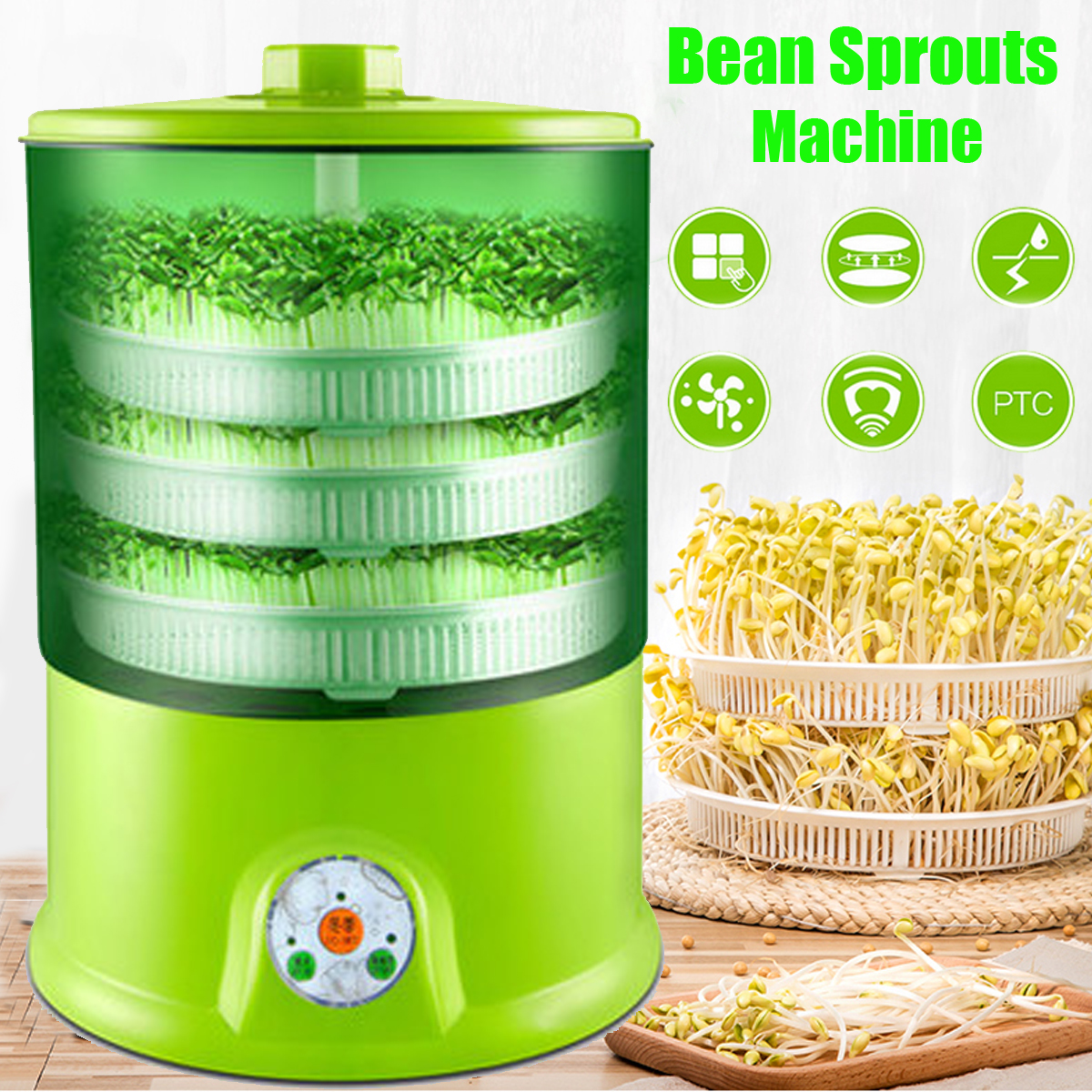 Warmtoo 1.5L 3 Layers Ntelligent Bean Sprouts Machine Multifunctional Automatic Bean Sprouts Homemade DIY Tools 220v 260x330mm