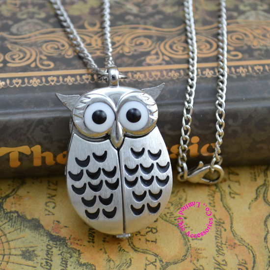 wholesale price good quality fashion women vintage classic retro quartz silver new cute owl pendant pocket watch necklace hour