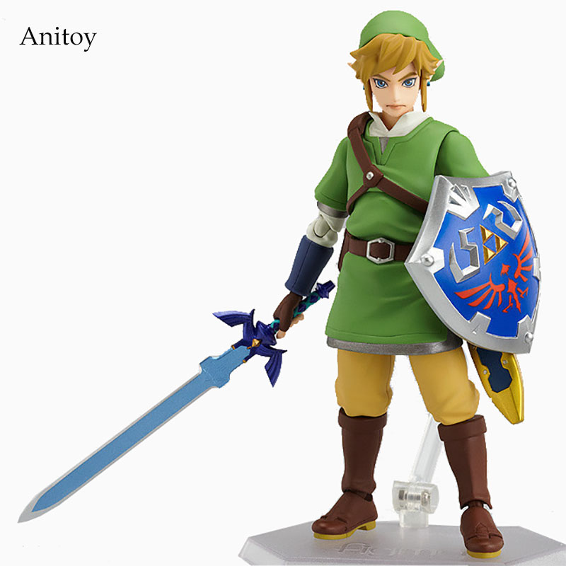 Anime The Legend of Zelda: Skyward Sword Link Figma 153# PVC Figure Collectible Model Toy 14cm KT1888 anime the legend of zelda 2 a link between worlds link figma 284 pvc action figure collectible model kids toys doll 10 5cm