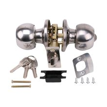 Rotation Round Door Knob Handle Stainless Steel Entrance Passage Lock With Kep Set