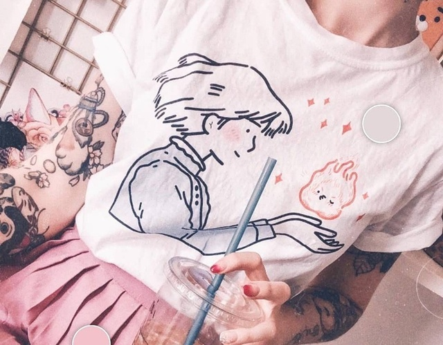 Pudo Xhm Sophie Kisses Calcife T Shirt Women Tumblr Aesthetic