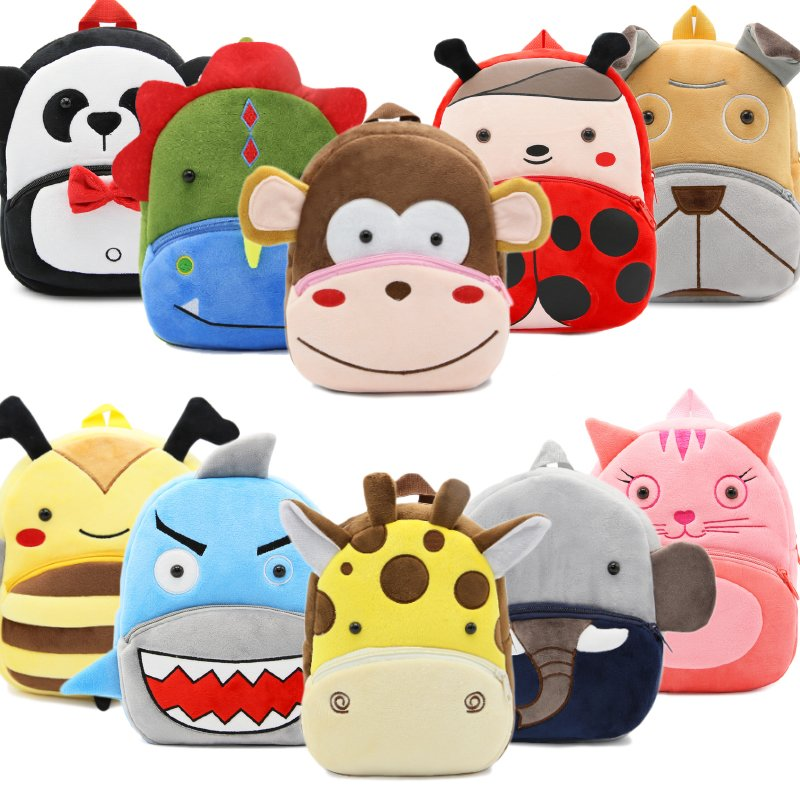 2018 Cartoon Kids Plush Backpacks Mini Kindergarten schoolbag Plush Animal Backpack Children School Bags Girls Boys Backpack girls animal school bags backpack 3d dinosaur backpack for boys children backpacks kids kindergarten small schoolbag