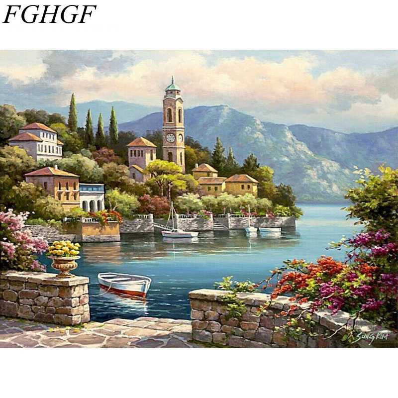 FGHGF Frameless Fairyland Villa Landscape DIY Painting By Numbers Kits Handpainted Oil Painting Modern Wall Art Canvas