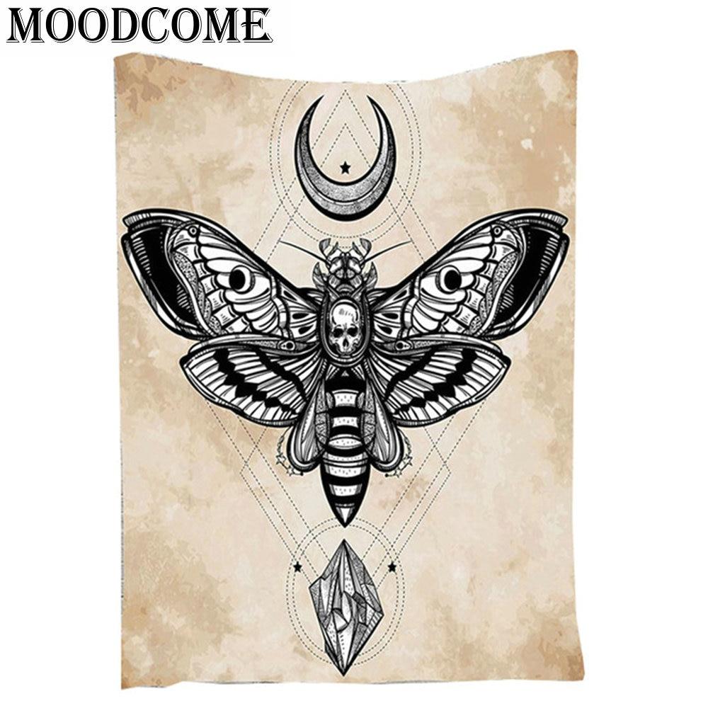 Skull Butterfly Mandala Tapestry Moon Star Tapestry Wall