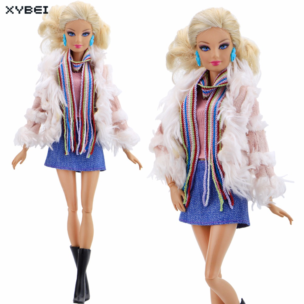 Handmade Elegant Winter Outfit Pink Overcoat Colourful Scarf Denim Mini Skirt Shoes Clothes For Barbie Doll Accessories Gift Toy new 20 pcs set handmade party 12 clothes fashion mixed style dress 8 pair accessories shoes for barbie doll best gift girl toy