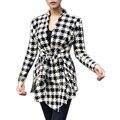 Winter Women Jackets Cotton Blend Girl Blouse Slim Long Sleeve Open Stitch Belt Coat Outerwear New 2017