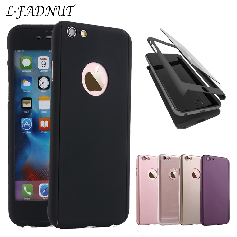 For iPhone Xr Case X Xs Max 360 Full Body Bumper Cover Tempered Glass Screen Protector For iPhone 6 Cases 6S 7 8 Plus 5 S SE in Fitted Cases from Cellphones Telecommunications