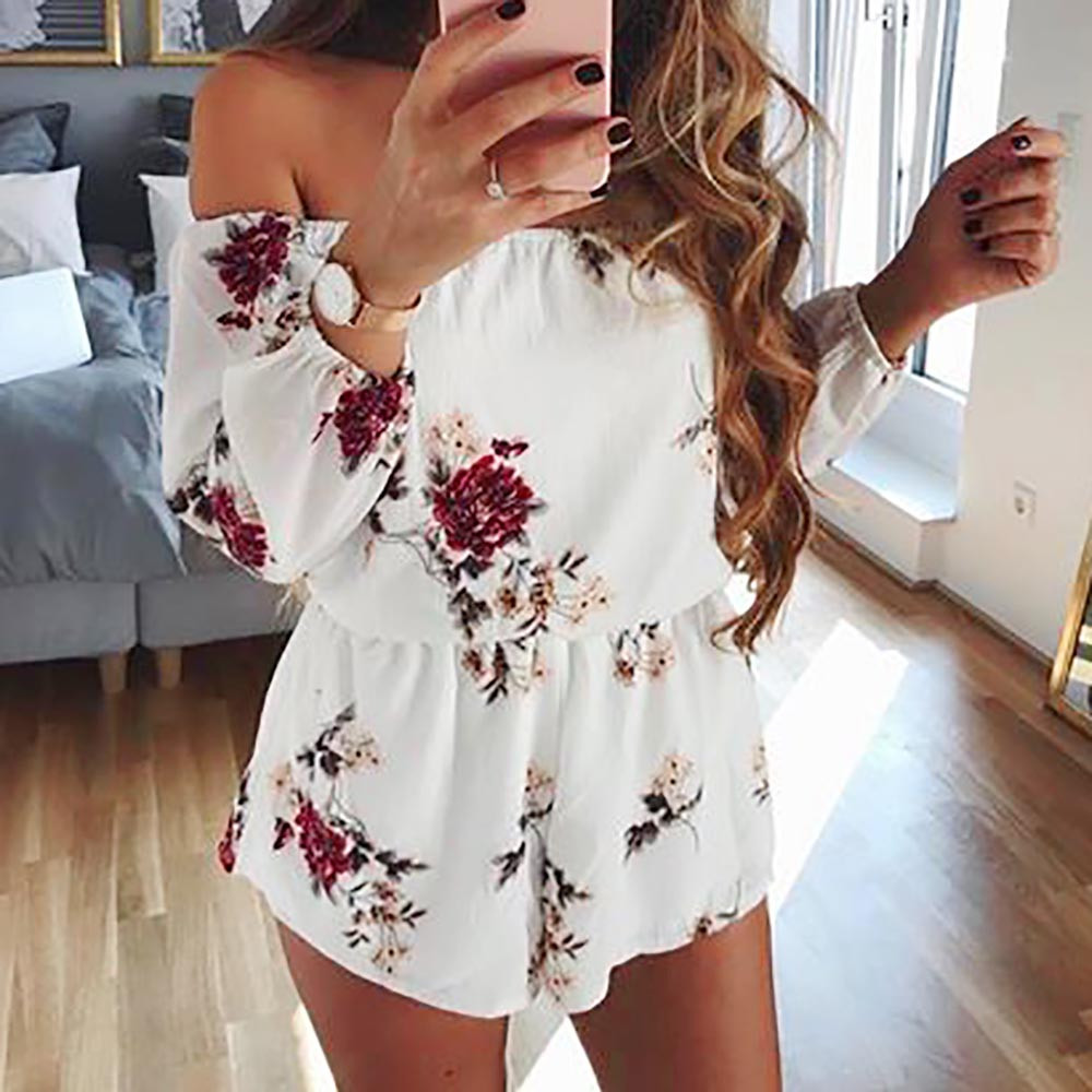 Jumpsuit Women White Jumpsuit 2020 Off Shoulder Belt Backless Sexy Rompers Print Floral Jumpsuit Combishort Femme #L30