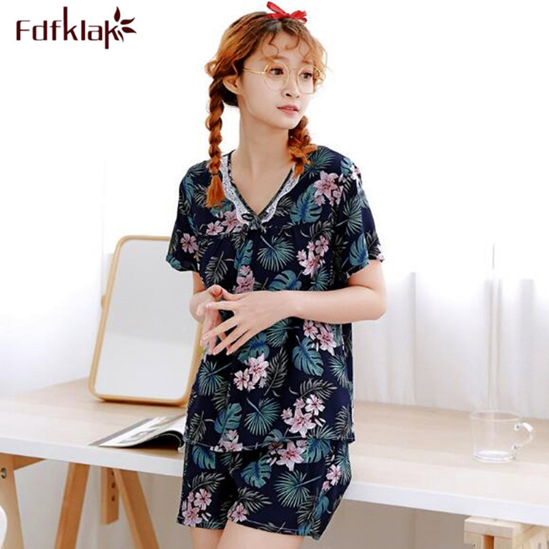Fdfklak New pyjama femme 2019 student's sleepwear   pajamas     set   short sleeve casual summer pijama women plus size home clothes