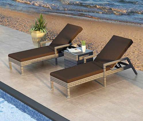 b0a5d10e2ba ... Factory direct sale Wicker Pool Furniture Garden Loungers Reclining Lounge  Chair Set