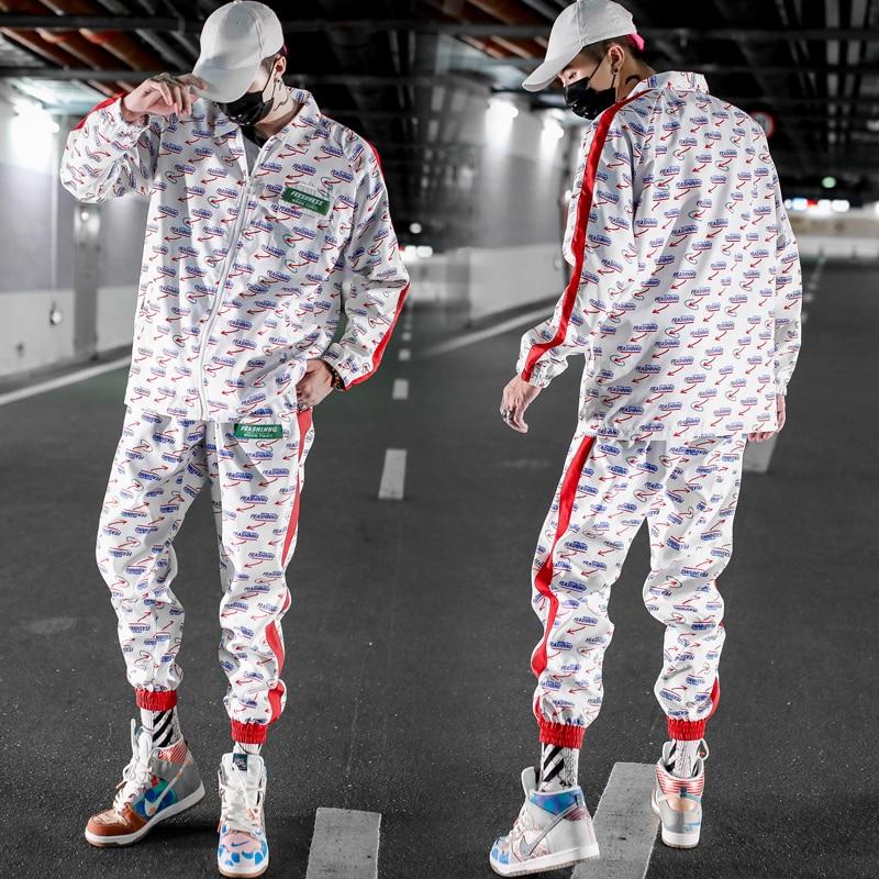 Tracksuit 2 Pieces Sets Men Color Block Patchwork Jacket And Loose Fit Elastic Waist Pants Mens Hip Hop Sweatsuits Streetwear