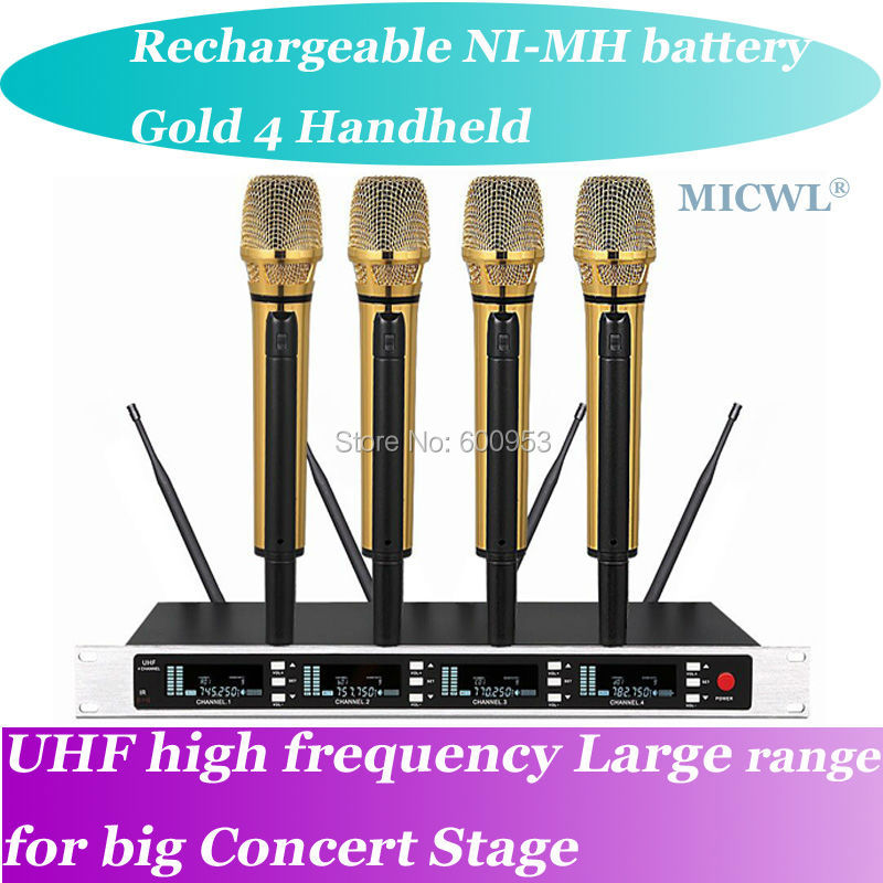 MICWL SP4 Charge NI-MH battery Radio Wireless DJ & Karaoke Microphone System High-End Gold 4 Handheld UHF LED digital micwl d400 uhf 4 gooseneck table uhf wireless conference microphones digital system for big meeting room