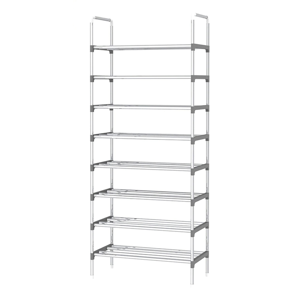 Simple 9 Layers Shoe Shelf Stailess Steel Frame Easy Installation Living Room Furniture Hallway Space Saving