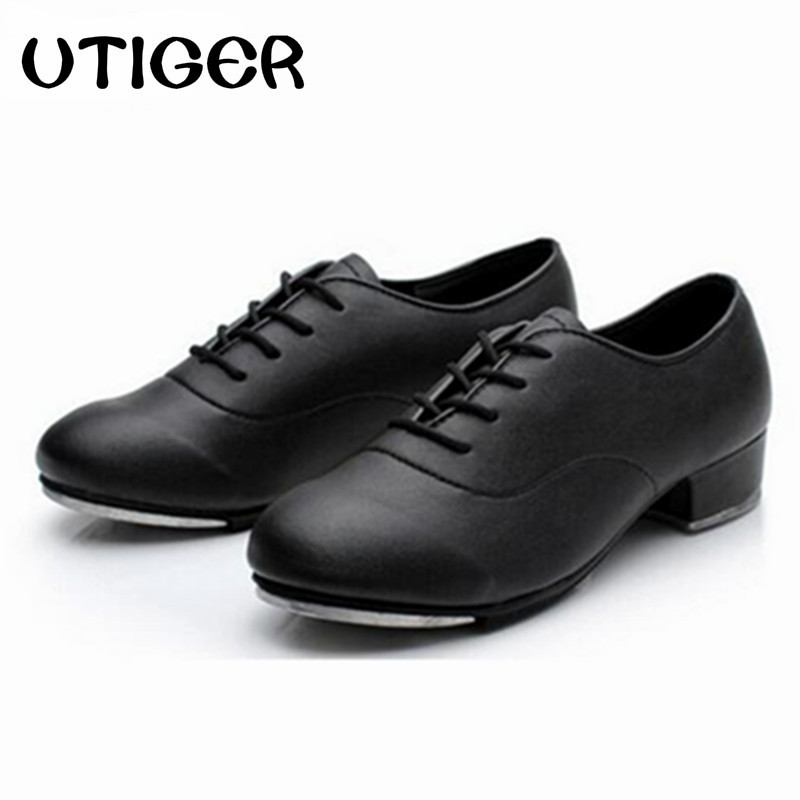 2019 Size 25 44 Adult Men Children Boy Tap Dance Leather or PU Oxford Lace Up Shoes Girls Women Tap Dancing shoes WD194-in Dance shoes from Sports & Entertainment