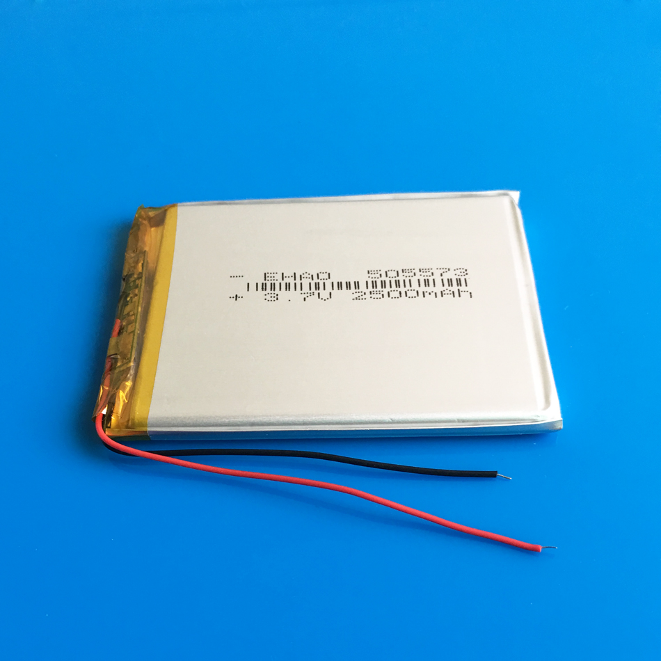505573 <font><b>3.7V</b></font> <font><b>2500mAh</b></font> polymer lithium <font><b>Lipo</b></font> rechargeable <font><b>battery</b></font> for GPS DVD PDA PAD power bank e-book camera tablet pc 5*55*73mm image