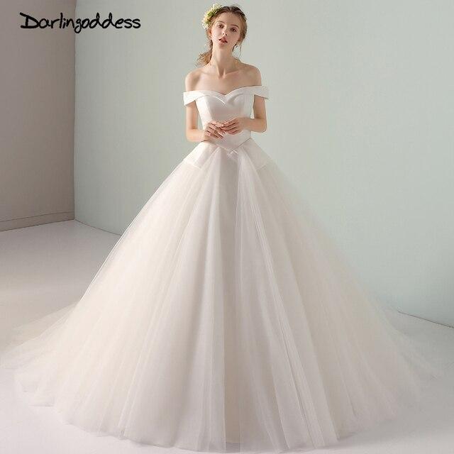 Darlingoddess Elegant Long Train Princess Wedding Dress Off Shoulder ...