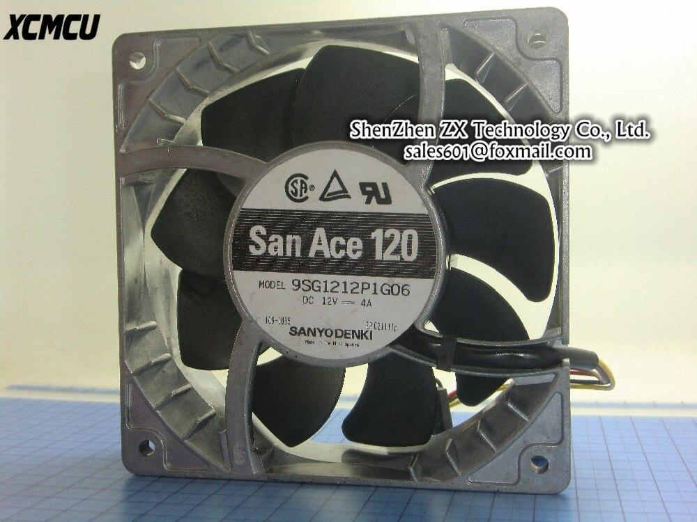 Оригинальный Сан-Ace 120 120*120*38 мм 12 см вентилятор 9sg1212p1g06 DC12V 4A большой поток воздуха вентилятора 4 провода В наличии ~