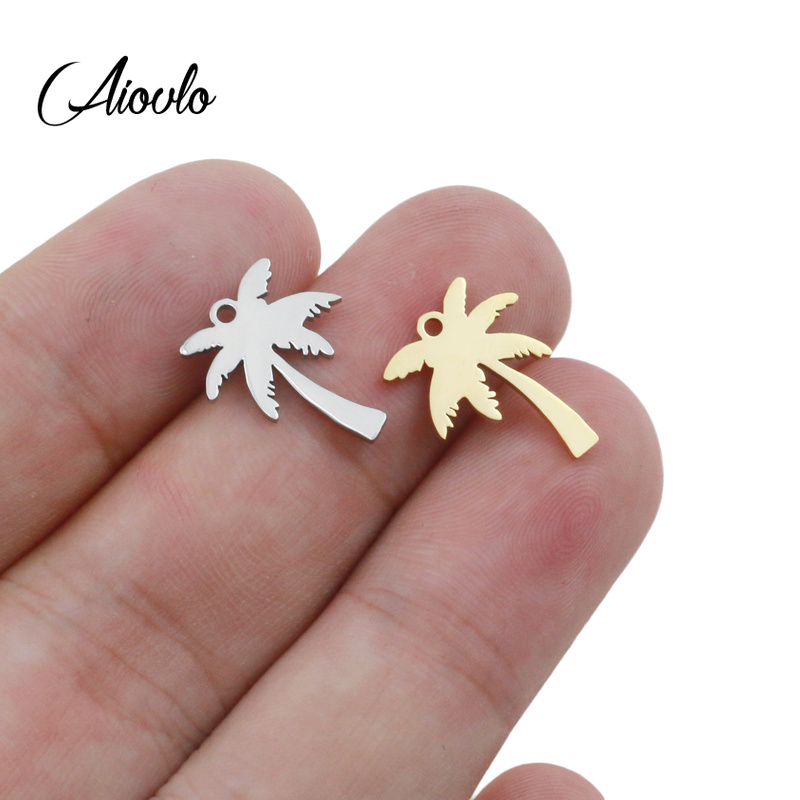 5pcs/lot 14x17mm Pendant Palm Tree Tree Stainless Steel Coconut Palms Charm Pendants For Jewelry Making Coconut Tree Pendants