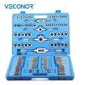 Juego de llave y troquel de 110 piezas de herramientas de rosca de llave métrica de aleación de acero con funda azul para trabajo de metal profesional
