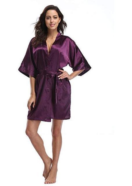Women's Satin Pajamas Bathrobe Nightgown Wedding Kimono Bride Robe Sleepwear Bridesmaid Robes  3