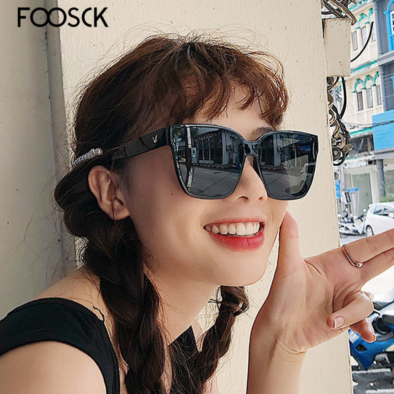 FOOSCK Sexy Fashion Oversized Square Sunglasses Women Summer Style Big Size Frame Mirror Sun Glasses Female Oculos UV400