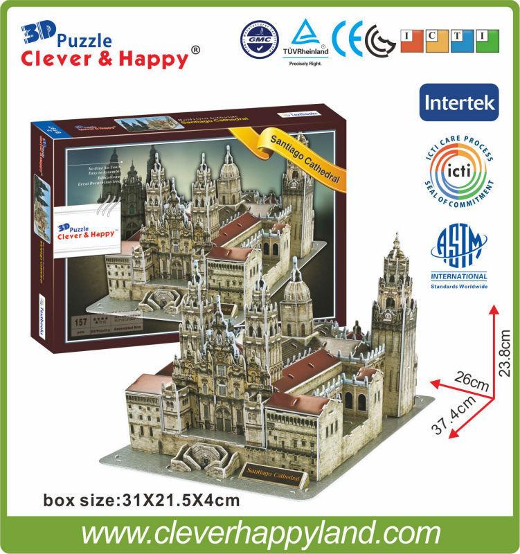 Terbaru ! Kertas karton 3D puzzle model arsitektur bangunan terkenal di dunia Katedral Santiago (Spanyol)