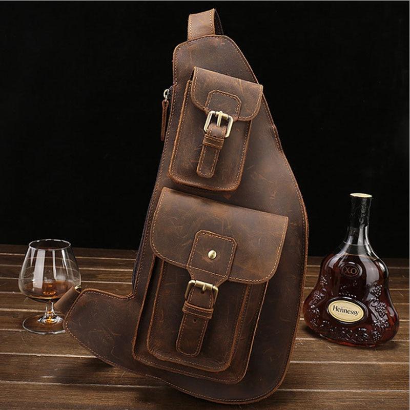 Brand Men Casual Vintage Crazy Horse Leather Messenger Shoulder Bag Leather iPad Crossbody Bag Handmade Fanny